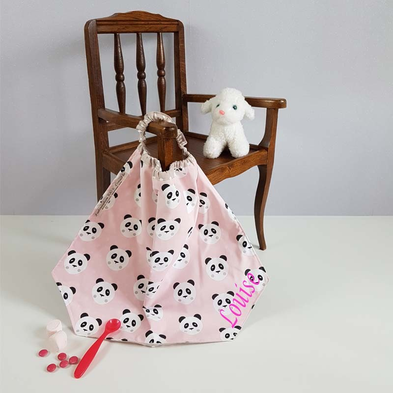 Serviette de Table Maternelle - Motif Panda Rose