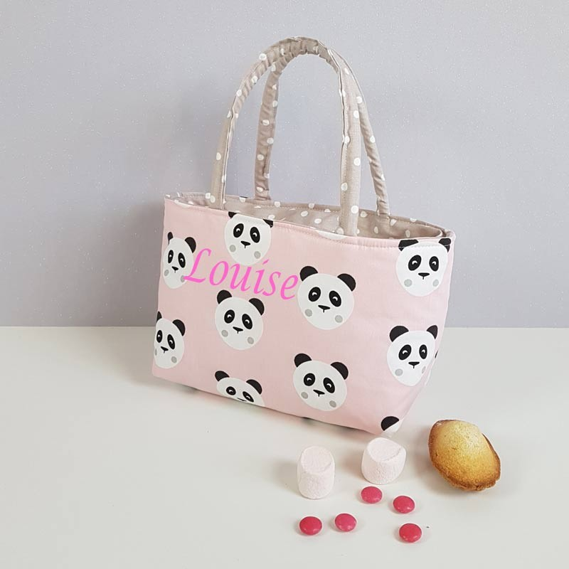 Sac à Goûter Maternelle Personnalisé - Motif Panda Rose