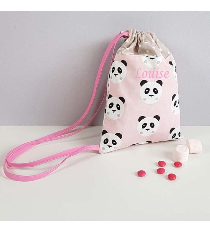 Sac à Personnalisé Maternelle Fille - Motif Panda Rose