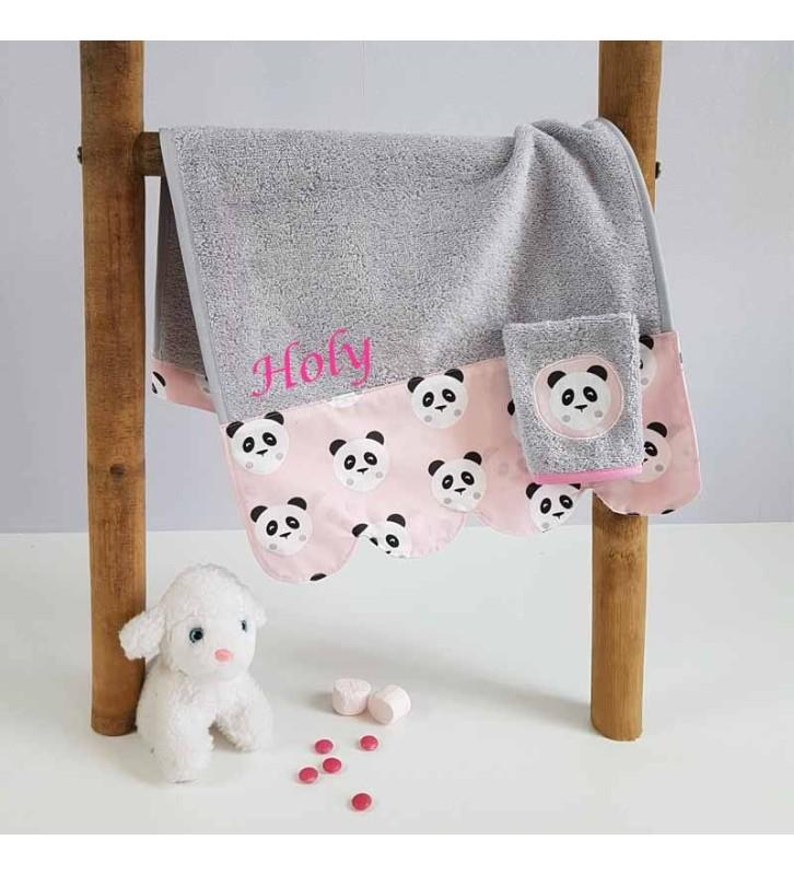 Serviette de Bain Bébé Personnalisée- Motif Panda Rose