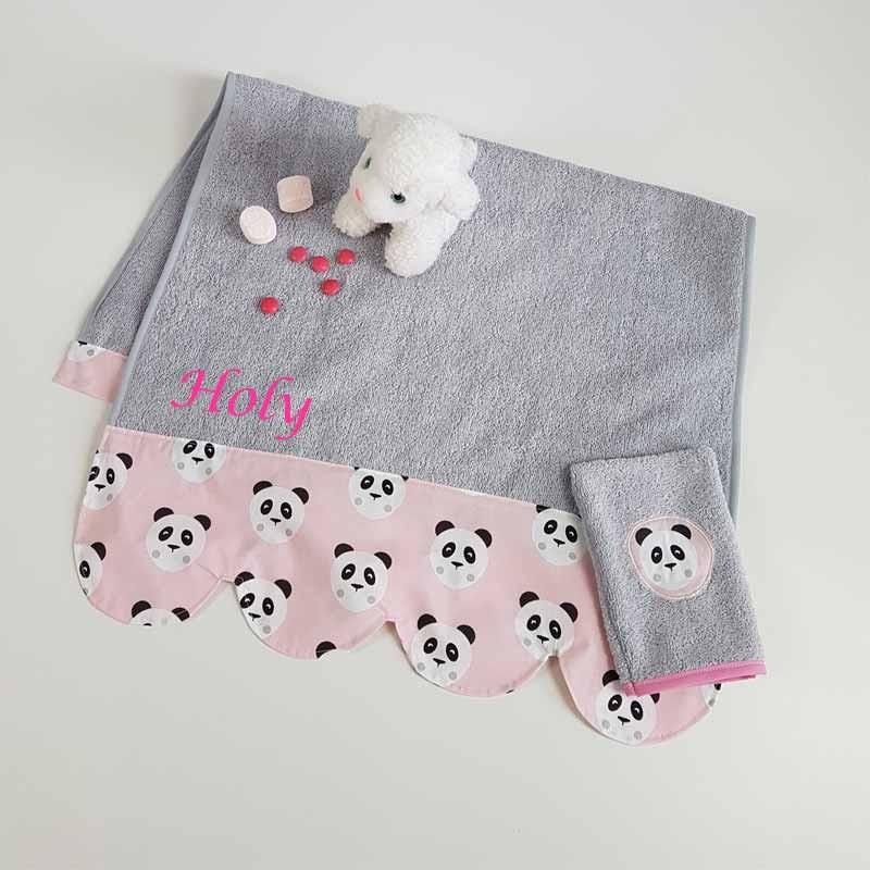Serviette de Toilette Fille Personnalisée - Panda Rose