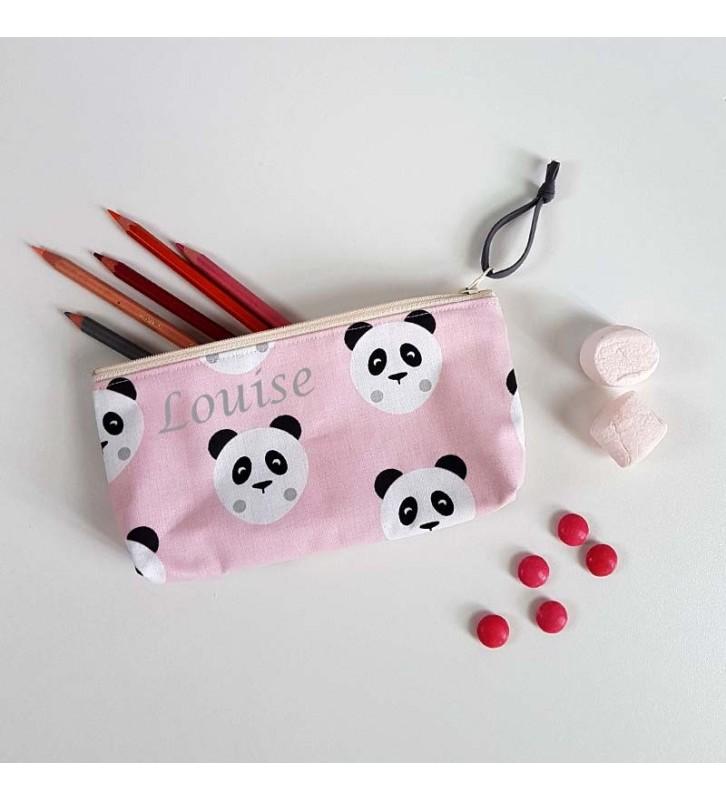 Trousse à crayons Fille personnalisée - Motif Panda Rose