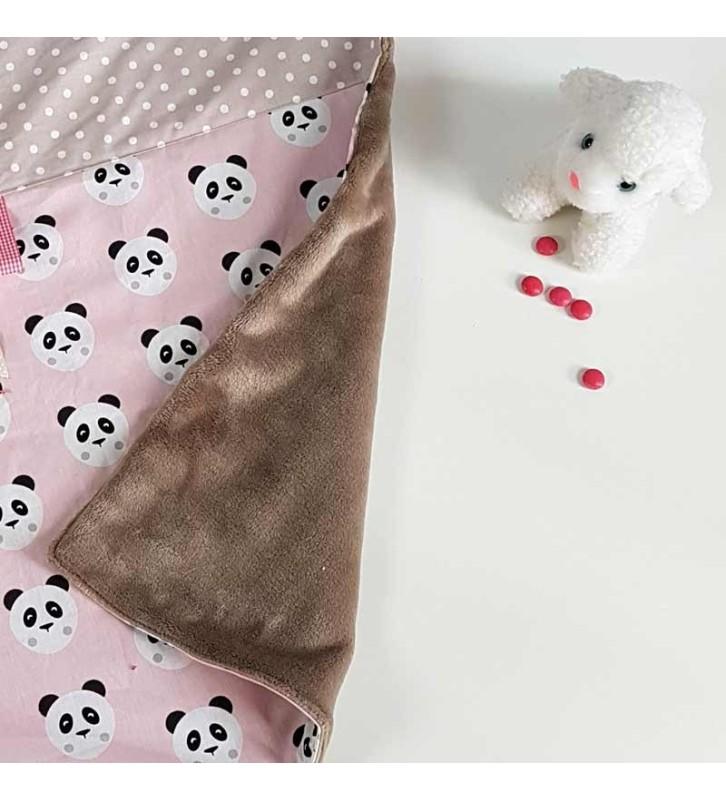 Couverture Nomade Fille - Motif Panda Rose