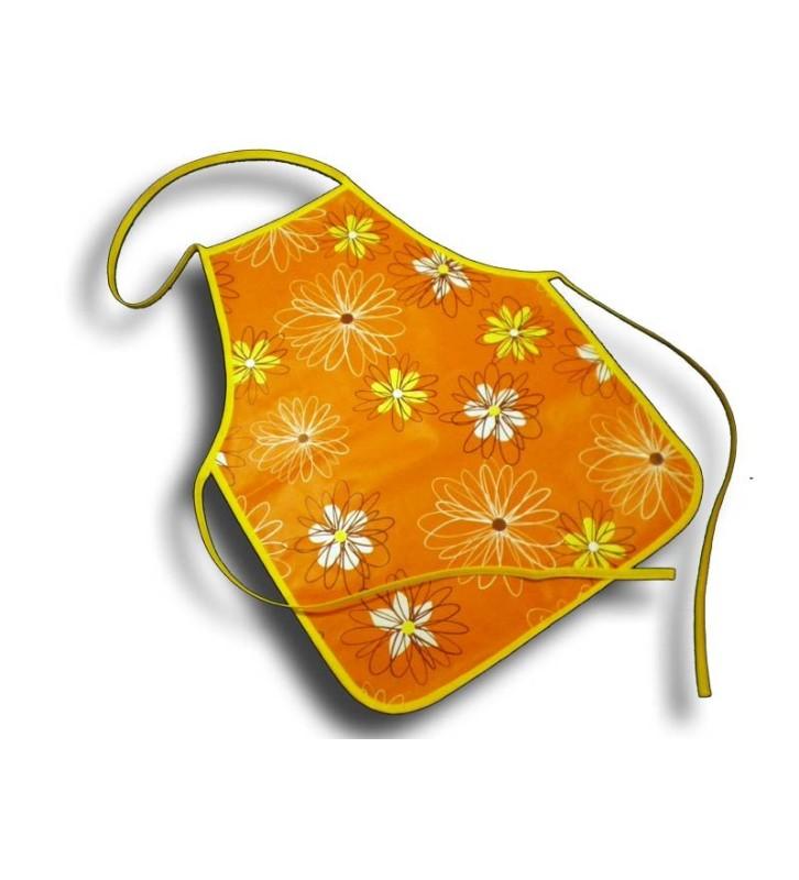 Tablier de cuisine 4-10 ans plastique fleur orange