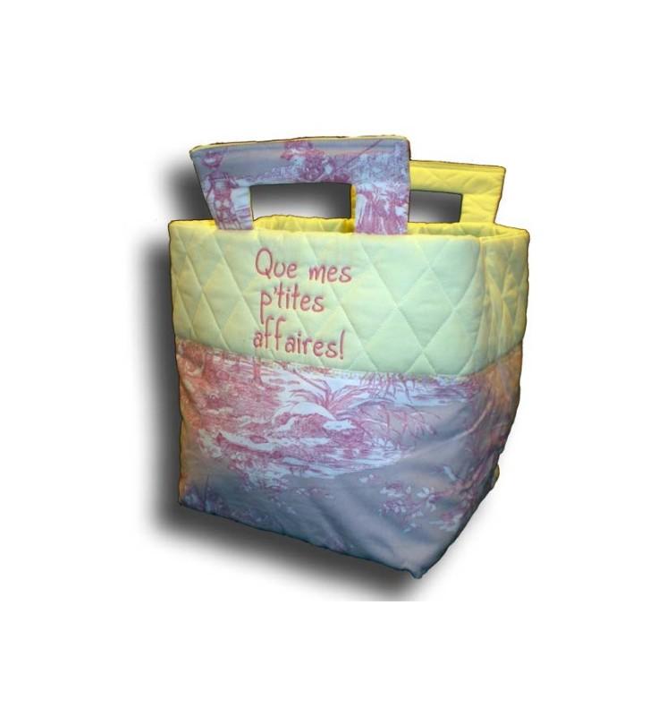 Petit sac de transport toile de Jouy rose