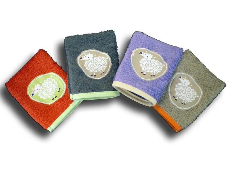 lot de 4 gants de toilette bébé motifs mouton