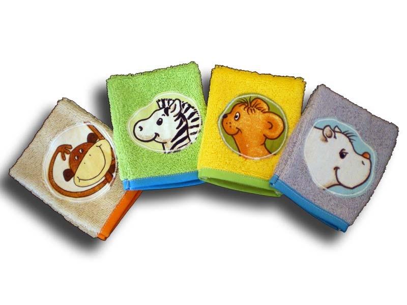 lot de 4 gants de toilette bébé motifs savane