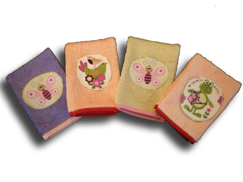 lot de 4 gants de toilette enfant motifs bestioles du jardin