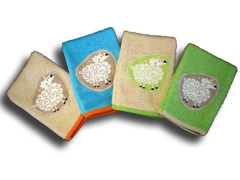 lot de 4 gants de toilette enfant motifs mouton
