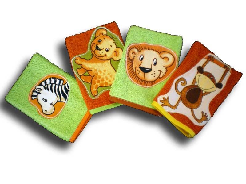 lot de 4 gants de toilette enfant motifs jungle