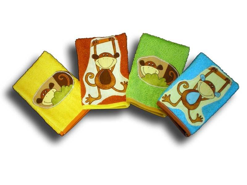 lot de 4 gants de toilette enfant motifs singe