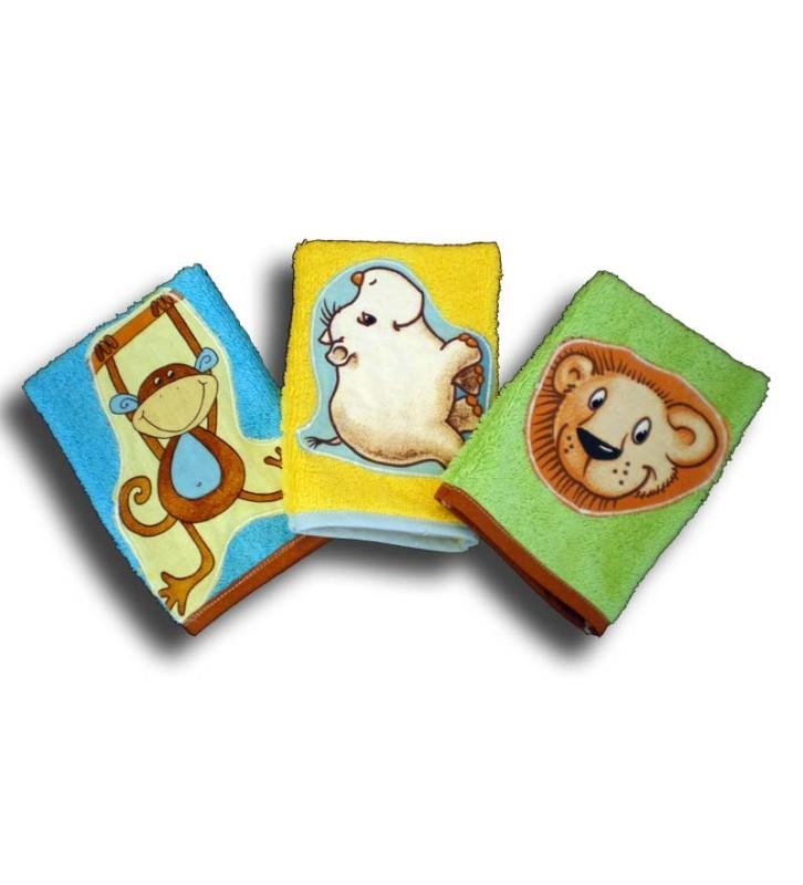 lot de 3 gants de toilette enfant motifs savane