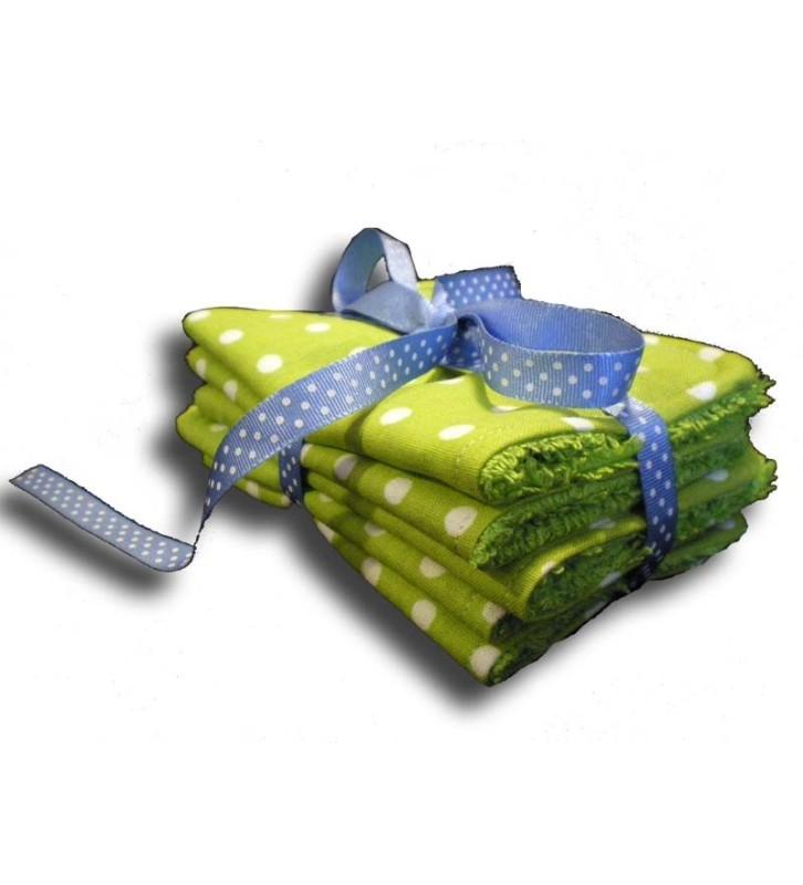 Lot 5 lingettes lavables vertes présentation cadeau