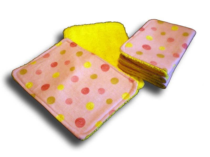 Lot 5 lingettes lavables rose et jaune