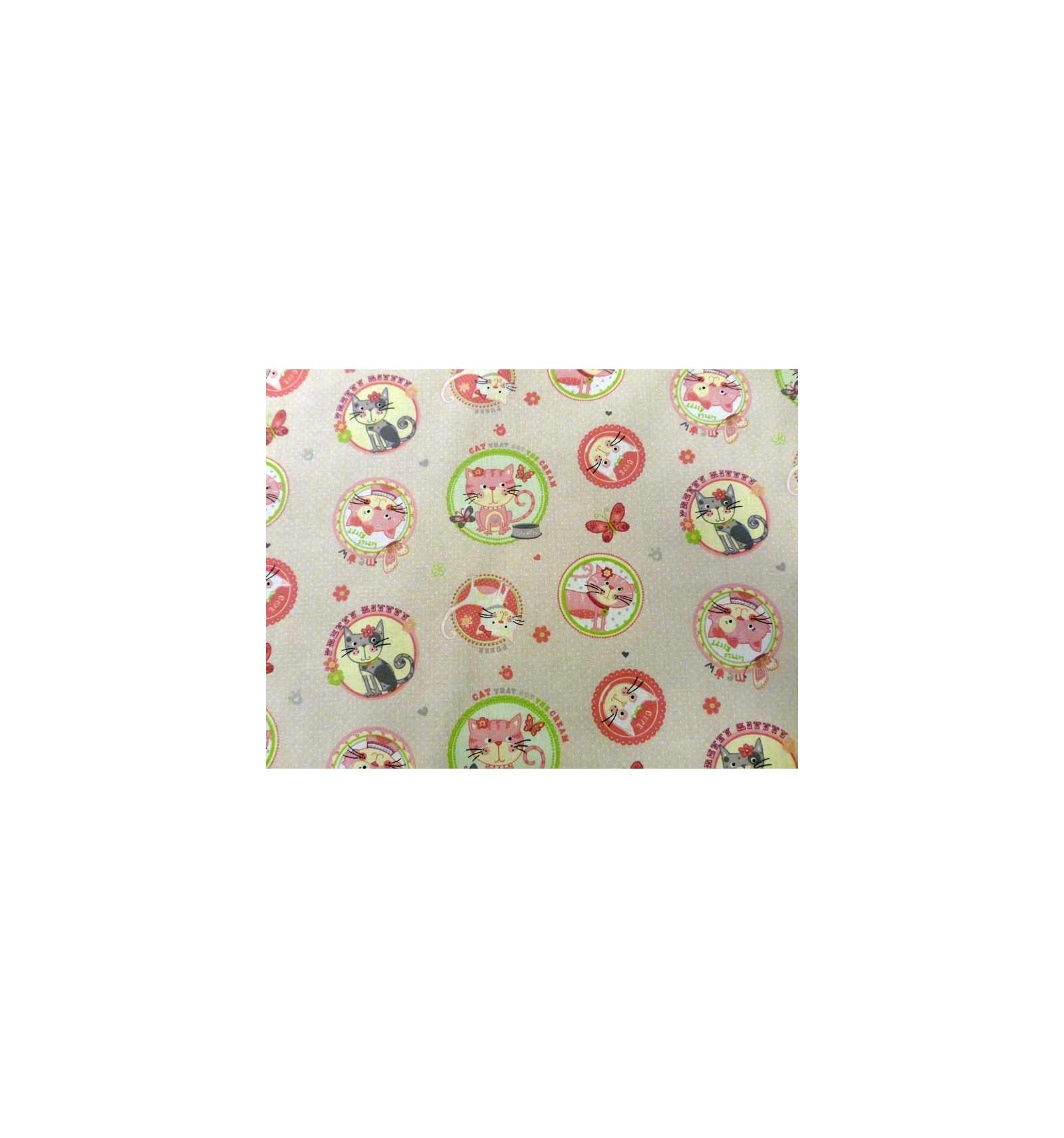 tissu pour enfant tissu coton aux motifs chat tr s mignon vente en ligne tissu enfant. Black Bedroom Furniture Sets. Home Design Ideas