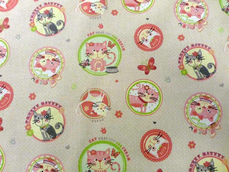 Tissu pour enfant minet rose