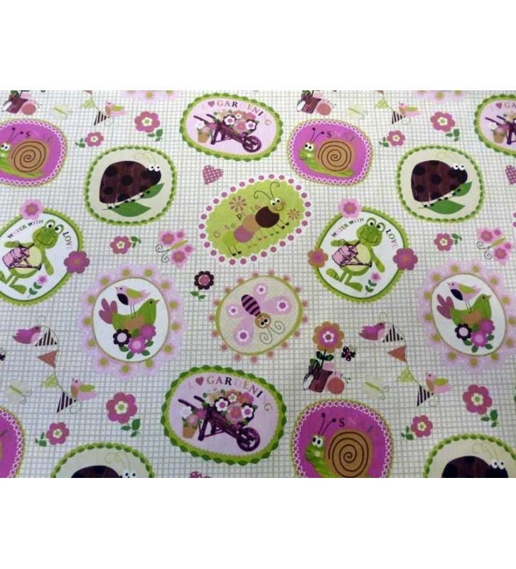 Tissu pour enfant bestioles du jardin