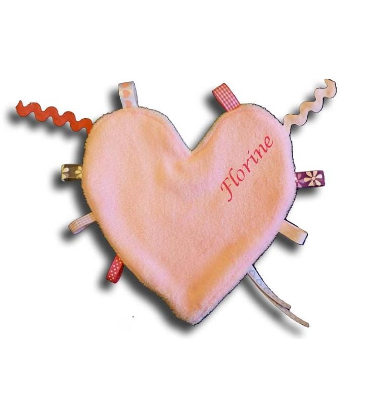 Doudou étiquettes coeur la face rose