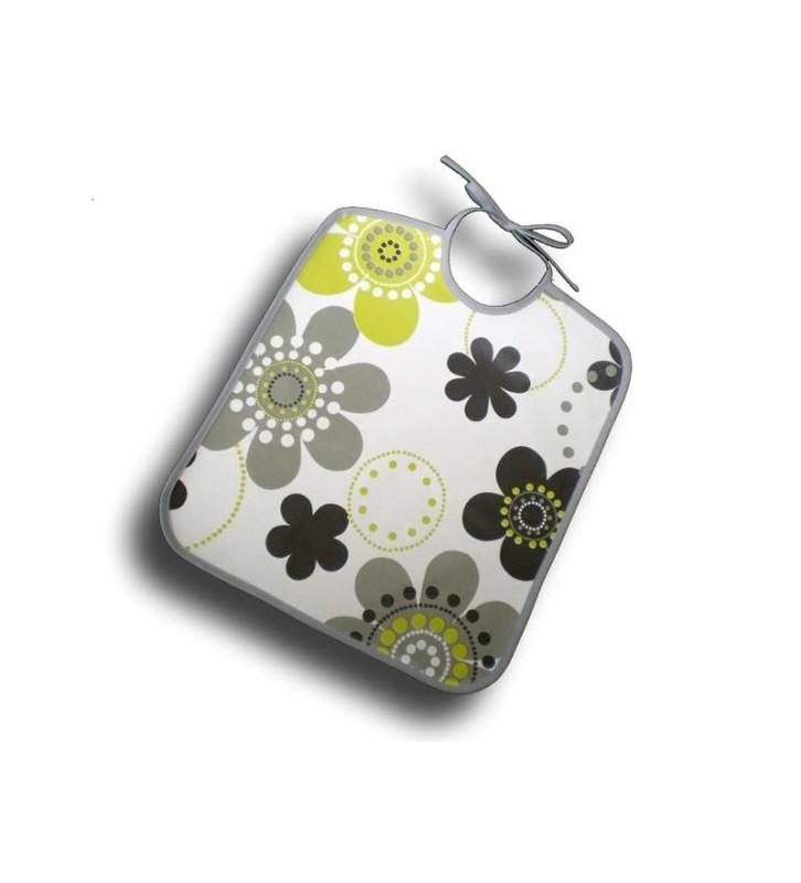 Bavoir plastique souple fleurs grises et vertes