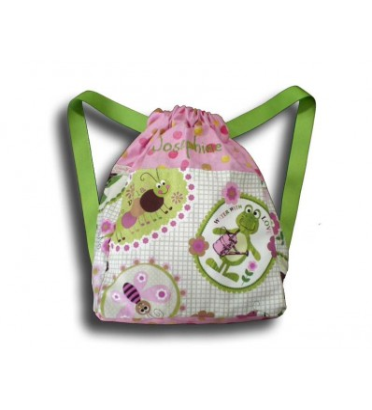 sac à dos bestioles du jardin haut du sac rose