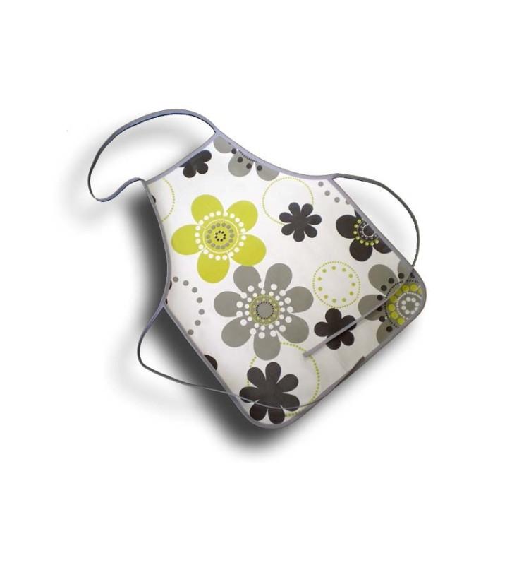 Tablier de cuisine 4-10 ans plastique fleurs grises et vertes