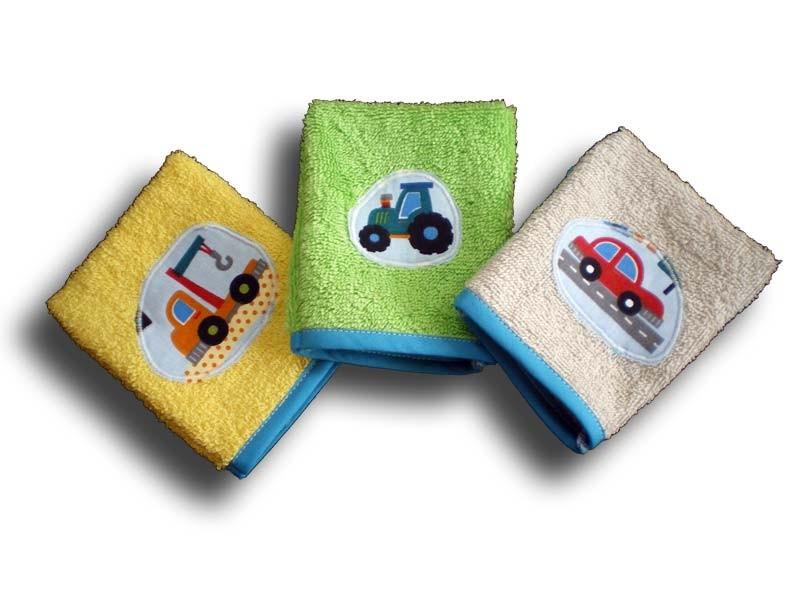 lot de 3 gants de toilette bébé motifs voiture et camion