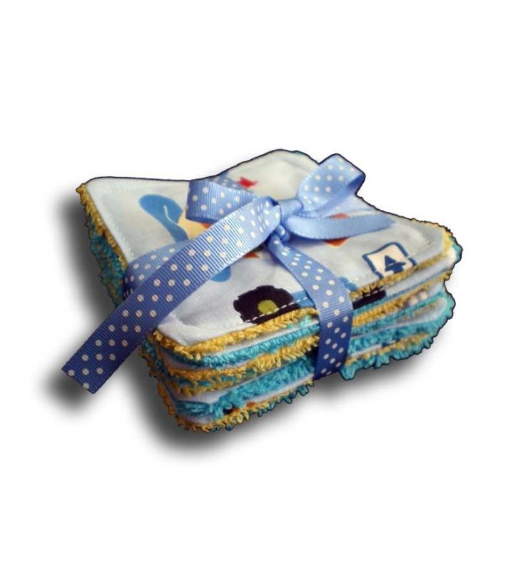 Lot de 8 lingettes carrées lavables pour bébé thème camion et son ruban cadeau