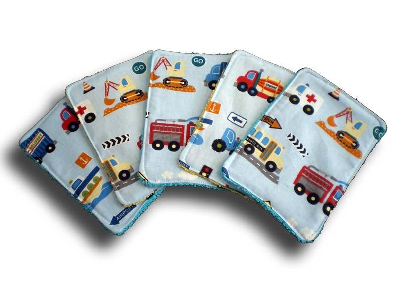 Lot de 5 lingettes rectangles lavables pour bébé thème camion