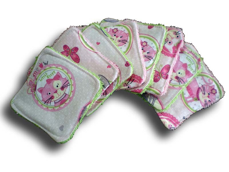 Lot de 8 lingettes carrées lavables pour bébé thème minet