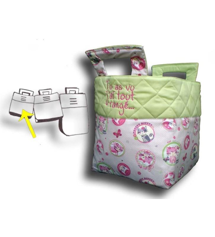 Petit sac à jouets thème minet, haut du sac vert