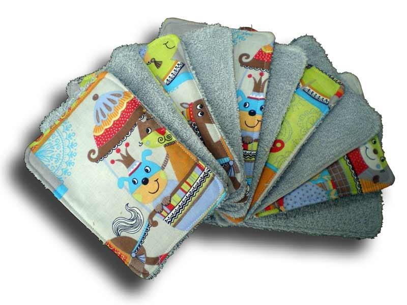 Lot 10 lingettes lavables bébé motif cirque