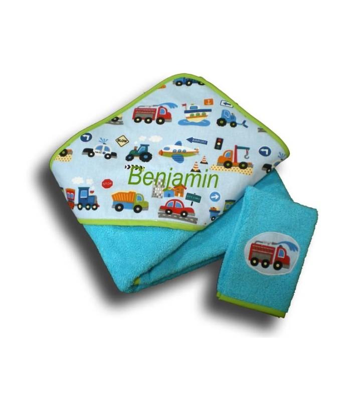 cape de bain enfant 2 ans thème camion éponge bleu