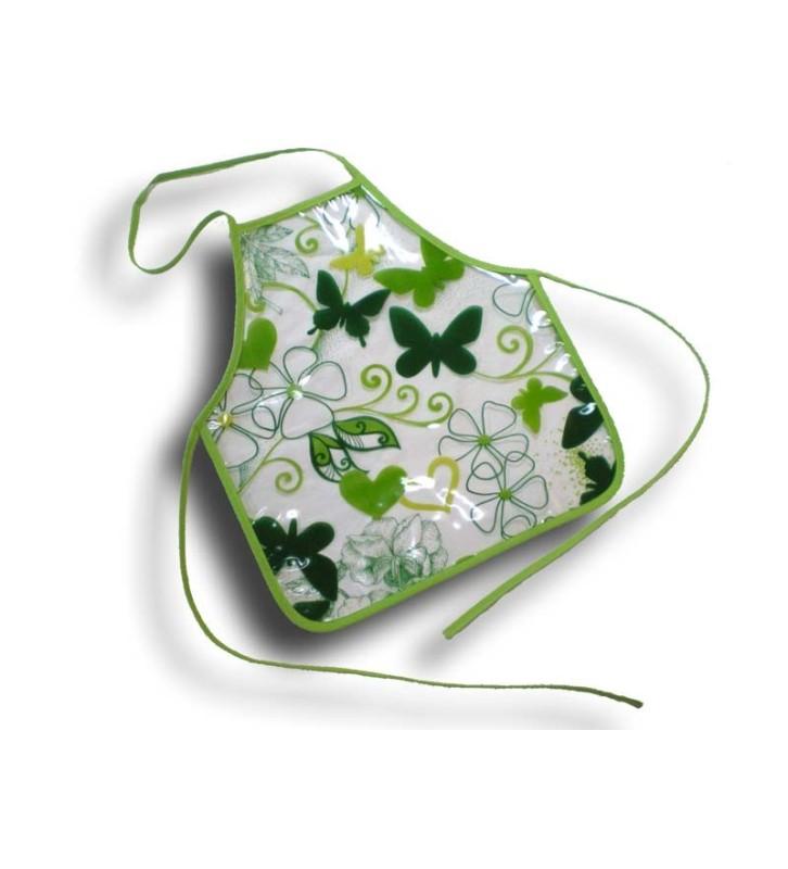 Tablier plastique enfant 2-4 ans Fleurs et papillons vert