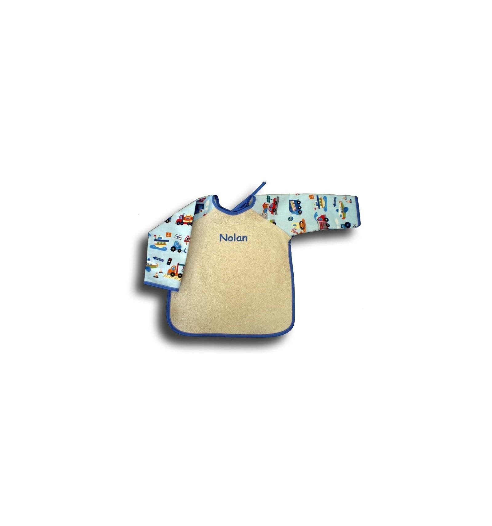 bavoir manches en coton bavoir manches longues b b cadeau naissance gar on personnalis. Black Bedroom Furniture Sets. Home Design Ideas