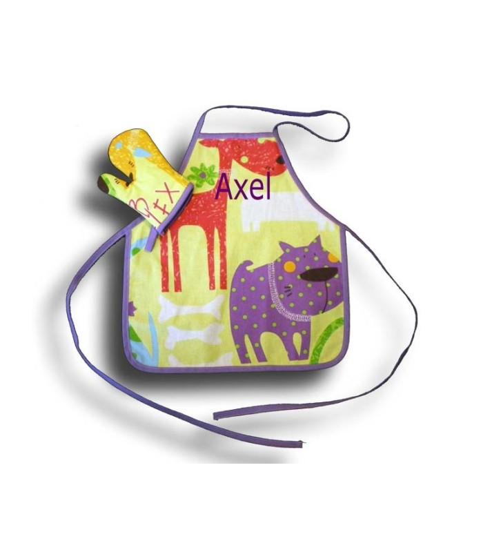Tablier de cuisine 2-4 ans + gant thème chien rigolo
