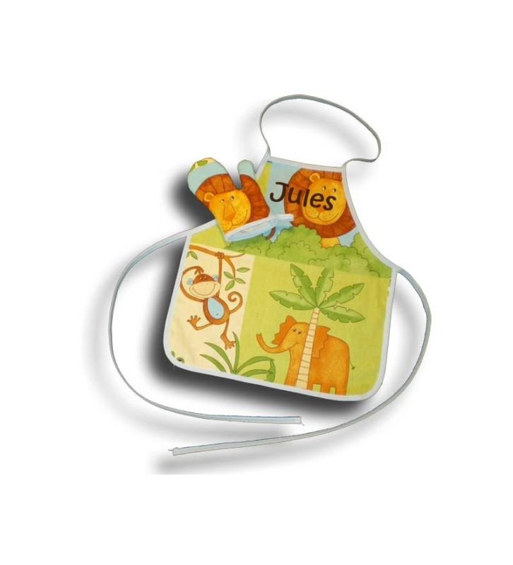 Tablier de cuisine brodé 2-4 ans + gant thème savane