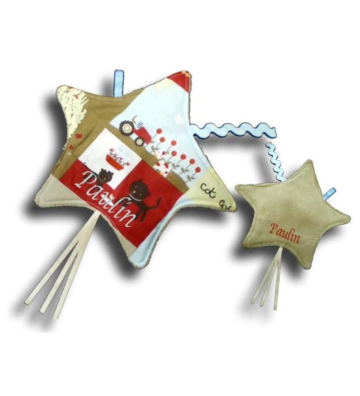 Doudou étiquettes en forme d'étoile motif La ferme beige