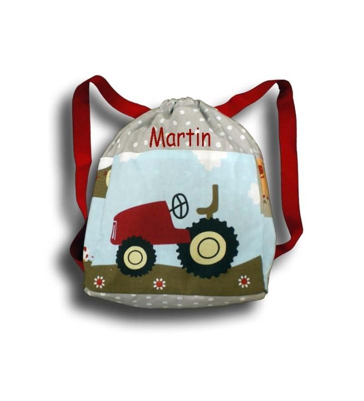 sac à dos à la ferme tracteur beige