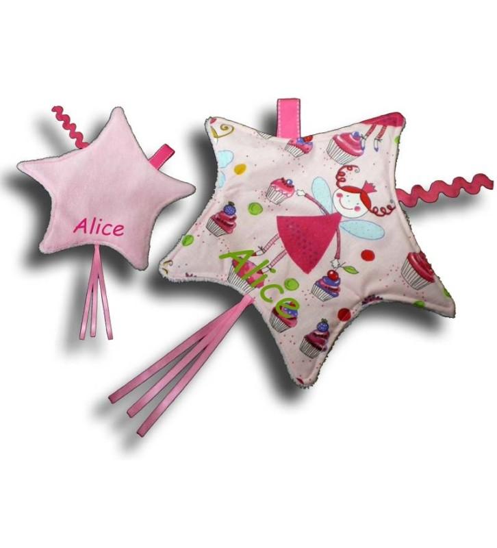 Doudou étiquettes Etoile motif Fée rose