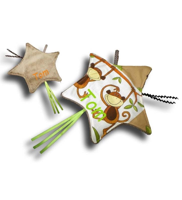 Doudou étiquettes en forme d'étoile filante et motif singe