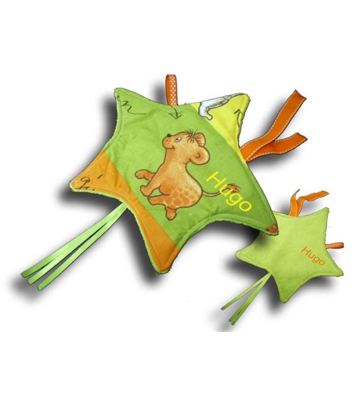 Doudou étiquettes forem Etoile motif Jungle multicolore