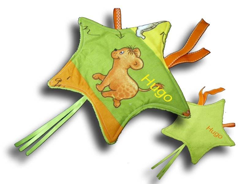 Doudou étiquettes Etoile motif Jungle multicolore
