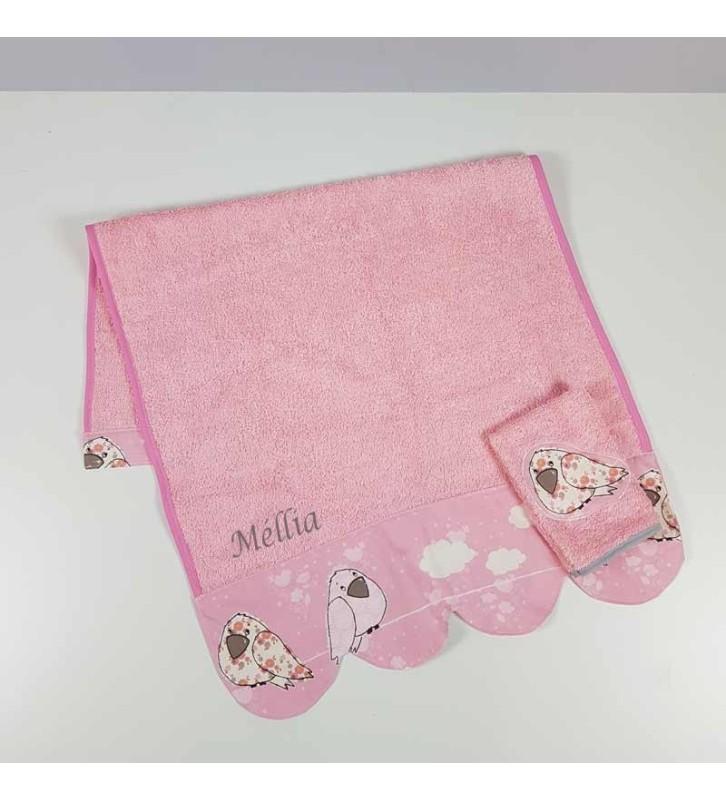 Serviette de Toilette Fille Personnalisée - Oiseau Rose, éponge rose