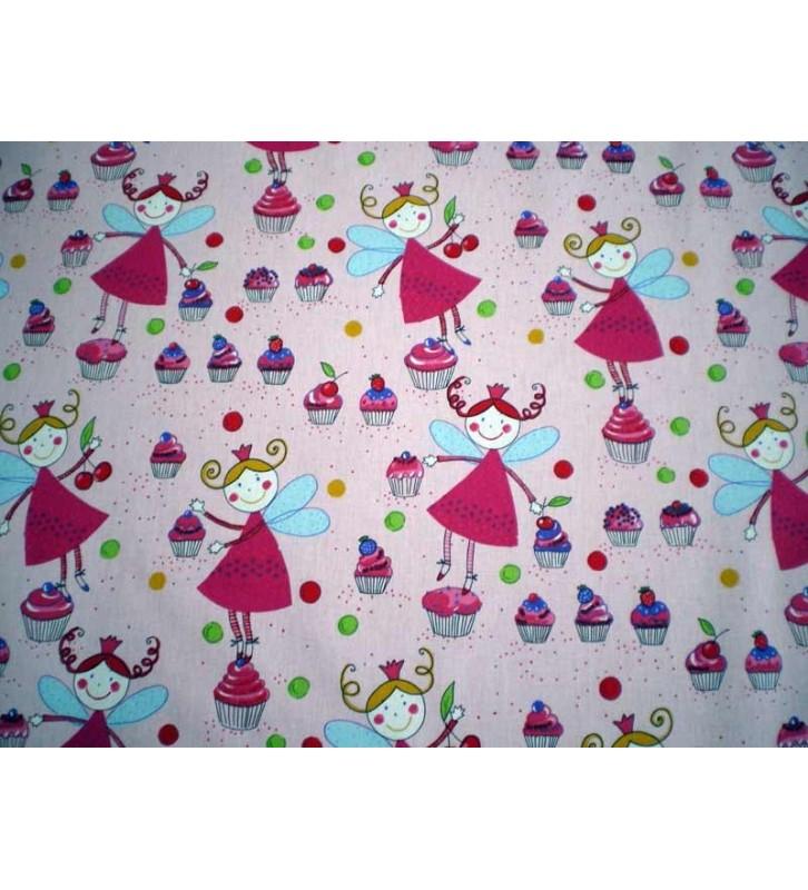 Tissu pour enfant motifs Fée rose