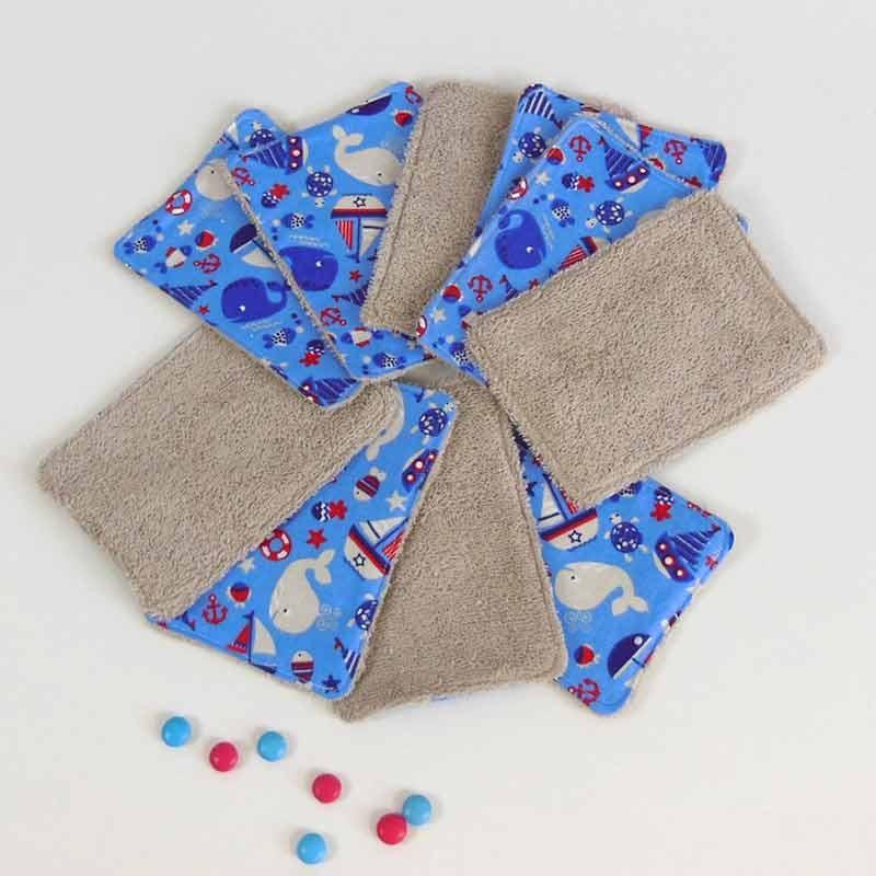 Lot 10 lingettes lavables - Bleu Bateau Baleine