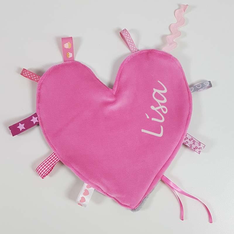 Doudou étiquettes coeur fushia et gris