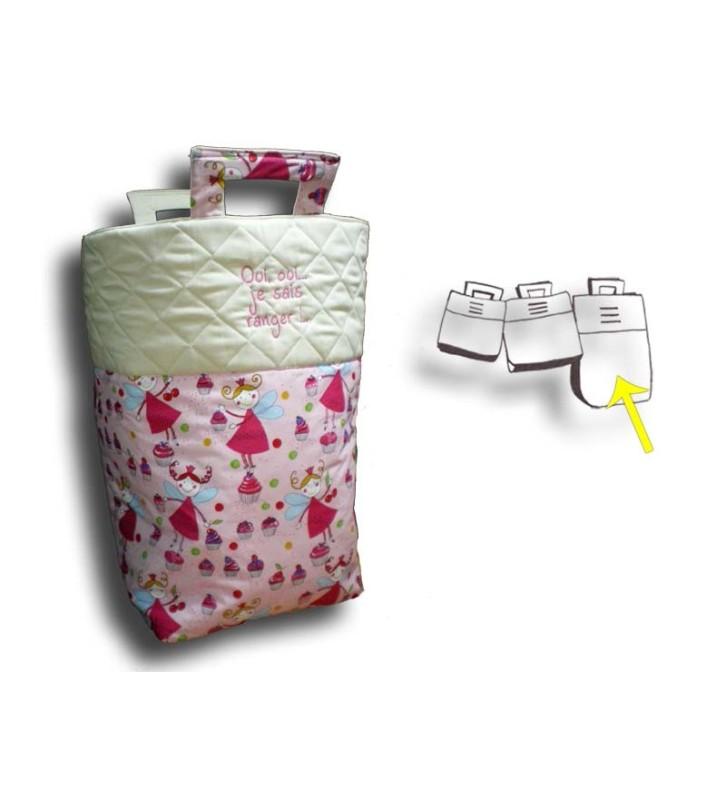Grand sac de rangement pour jouets motif Fée rose