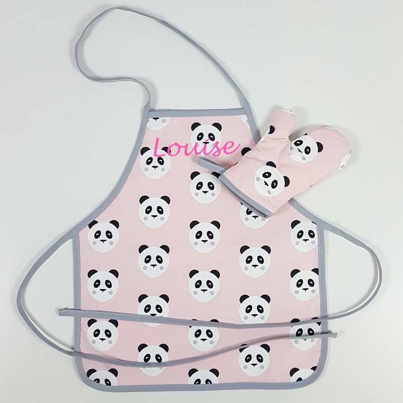 Tablier Personnalisé Enfant - Motif Panda Rose
