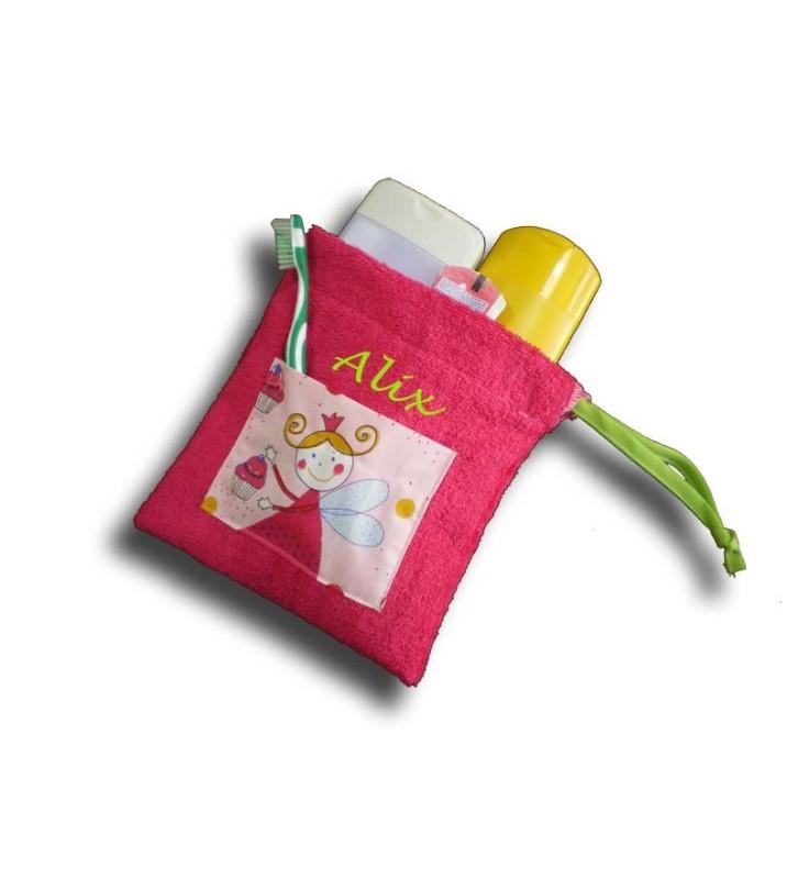 Trousse de toilette enfant personnalisée motif Fée rose