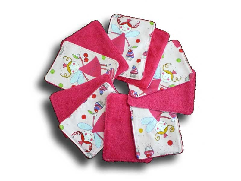 Lot 10 lingettes lavables pour la toilette de bébé Fée rose